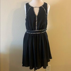 Armani Exchange Black Dress Snakeskin Print Trim